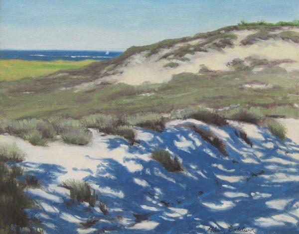 Hilary Baldwin A traditional painting of sand dunes with shadows and grasses.