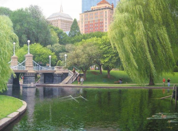 Richard Brady Realistic painting of Boston Public Garden with people walking near foot bridge with willow trees.