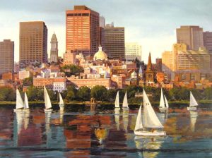 Frederick Kubitz - Boston Cityscape Sailboats on Charles River