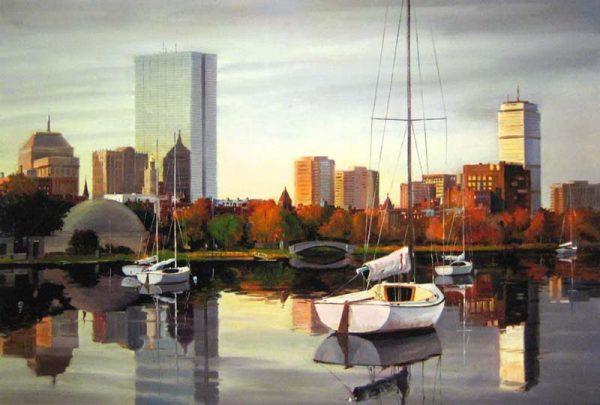 Frederick Kubitz - Morning Reflections sailboat on Charles River Boston