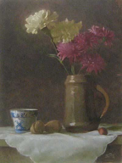 Carnations & Mums (16x12 oil on board)