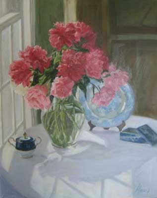 Pink Peonies with Blue and White (30x24 oil on canvas)