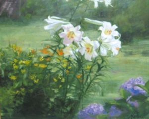 White Lillies in the Garden (24x30 oil/canvas)