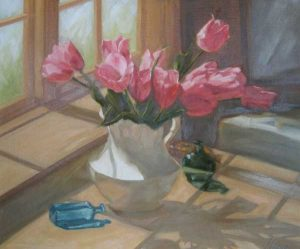 Pink Tulips in White Ironstone (20x24 oil on canvas)