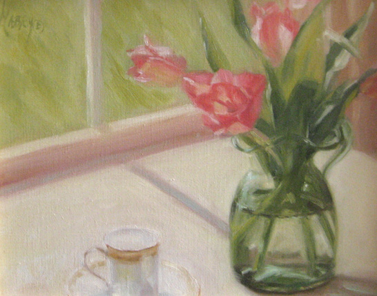 Pink Tulips with Demitasse (11x14 oil on canvas)