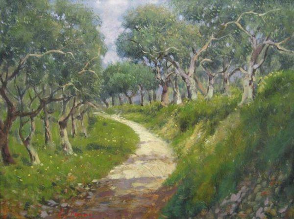 Antonio Sannino Sunlit Path (12x16 oil painting on canvas)