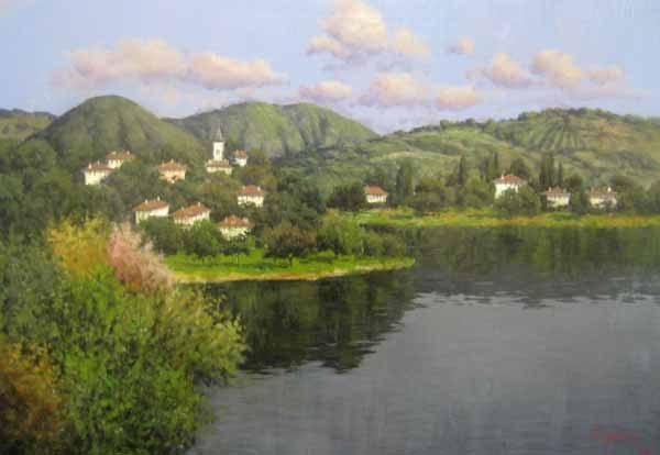 Antonio Sannino Villas on the Lake Painting for sale