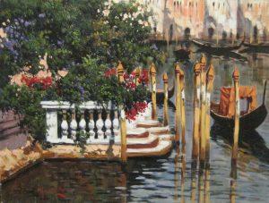 Antonio Sanino Gondolas in Venezia painting