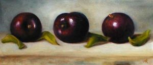 Three Plums (5x12 oil on paper)