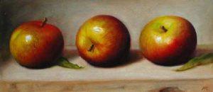 Three Apples (5x12 oil on paper)