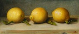 Three Lemons (5x12 oil on paper)