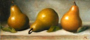Three Pears (5x12 oil on paper)