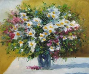Christian Nesvadba White and Purple Flowers (oil painting on canvas)