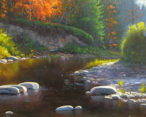 Cyril Cox painting Indian Summer stream with rocks and trees