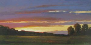 Cyril Cox painting Setting Sun over field