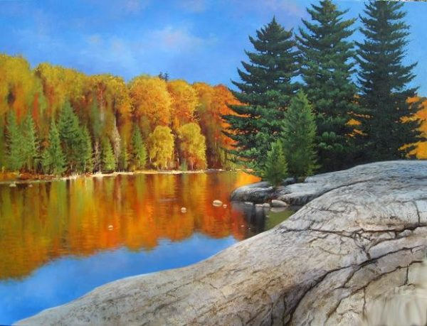 Cyril Cox painting Northern Shore (30x40 oil on canvas) lake in fall