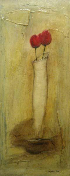 Sophie Hallonquist Tulips (30x12 encaustic)
