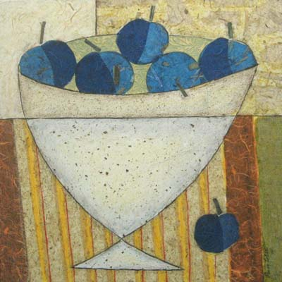 Bowl of Blueberries (24x24 mixed media on canvas)