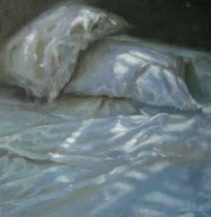 Carol O'Malia Carol OMalia contemporary painting of pillows on bed with light and shadow
