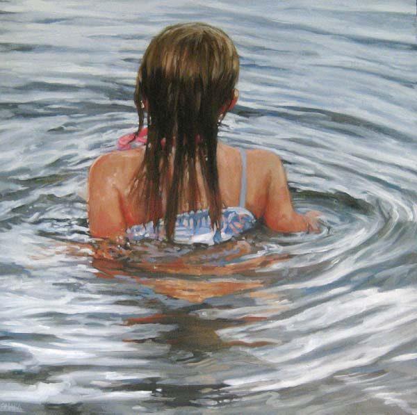 Carol O'Malia painting of girl swimming in water