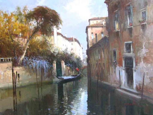 painting of grand canal in venice italy with buildings