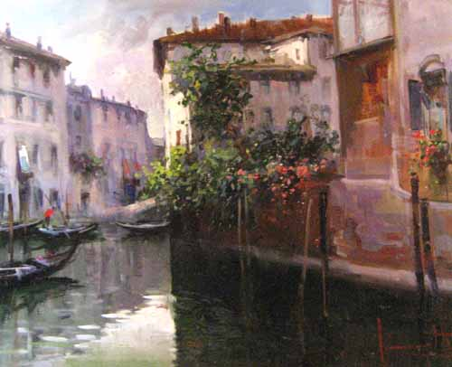 Painting of venice canal in italy