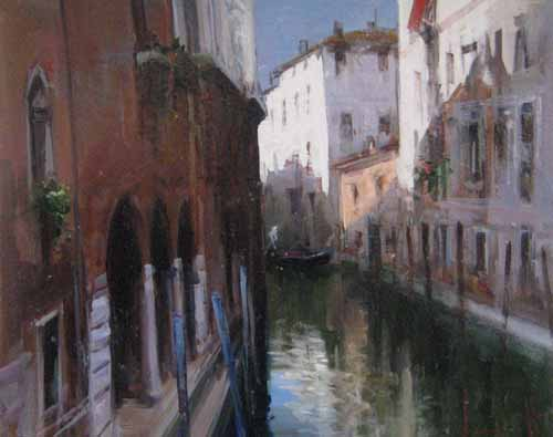 Painting of canal venice italy