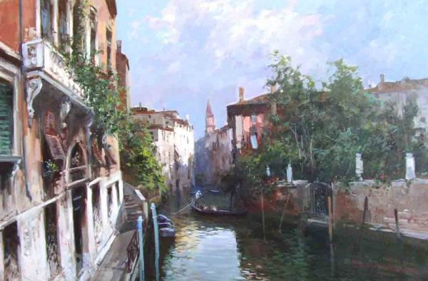 Painting of Venice Italy Canal with buildings