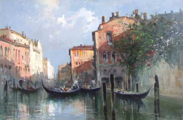Painting of Venice italy canal with gondolas