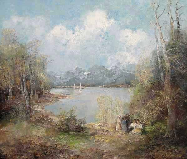 Willi Bauer impressionistic painting of a picnic by a lake