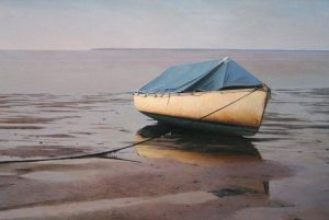 Robert Bolster - Well Grounded - Realistic painting of a row boat on a beach at low tide