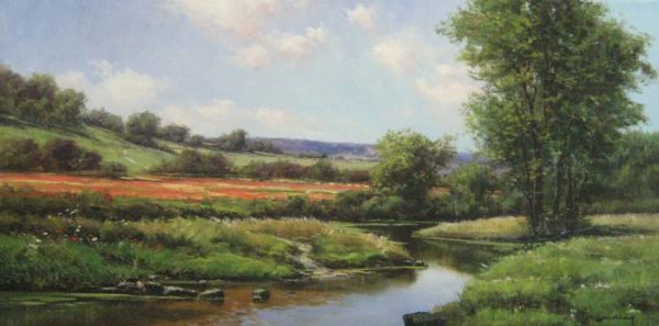 Joan Colomer Winding Stream (18x36 oil painting on canvas)