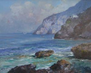 Vincenzo Laricchia Amalfi Coast(16x20 oil painting on canvas)