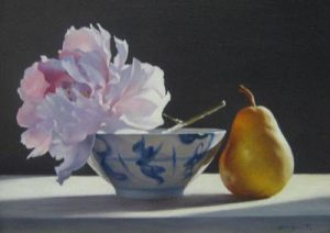 Ning Lee Peony & Pear in Light (oil painting on canvas)