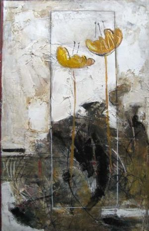 Yellow Flowers (30x20 encaustic on paper)