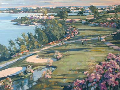 Howard Behrens - 18th Fairway Castle Harbor (30x40 serigraph on paper)