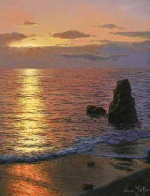 Navarro Montllor Sunset Over Rocks (oil painting on canvas)