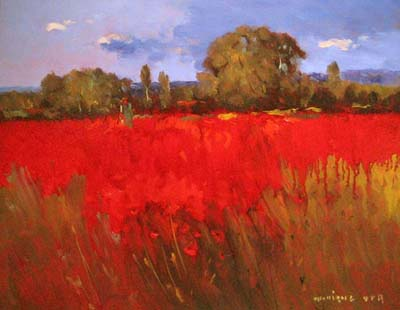 Monique Sakellarios - In Love with Poppies (11x14 oil painting on board)