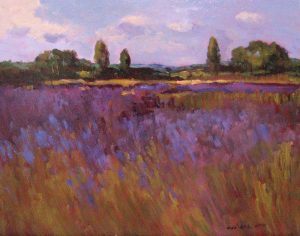 Monique Sakellarios landscape painting of purple Fields in Provence (11x14 oil on board)
