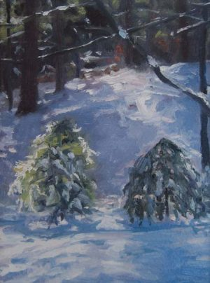 Winter Friends (8x6 oil on board)