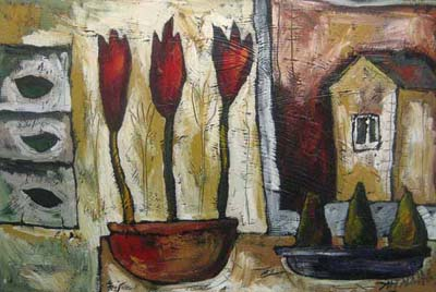 Three Tulips (24x36 encaustic on canvas)
