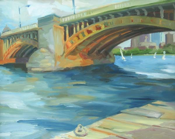Longfellow Bridge II Contemporary painting of Boston on display at Renjeau Art Galleries