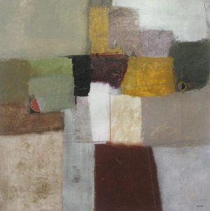 David Kincaid Geometric Abstract painting with gray and brown
