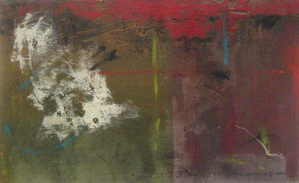 John Baughman contemporary abstract painting with red