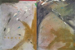 John Baughman contemporary abstract painting with two halves and muted colors