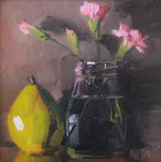 Pear & Vase (6x6 oil on board)