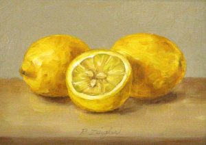 Patti Zeigler Still Life Painting of Lemons on Board