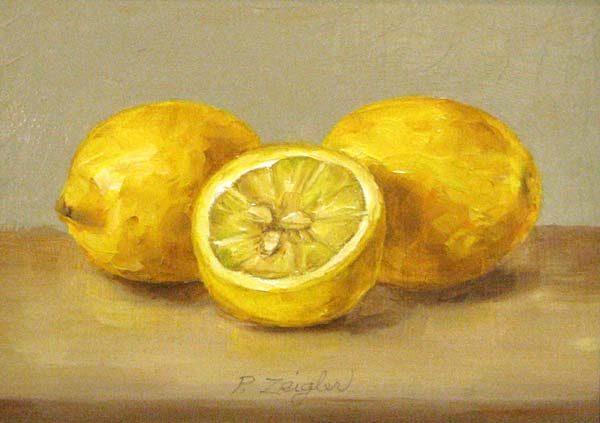 Patti Zeigler Still Life Painting of Lemons on Board