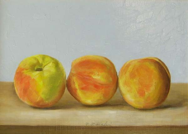 Patti Zeigler Painting of 3 Peaches (8x11 oil on board)