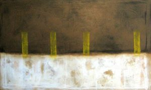 Abstract painting with brown and white rectangles with yellow pillars